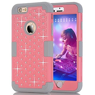 iPhone 6S plus Case,T-Jun Rhinestone Studded Bling Series, Durable Silicone Bumper and Hard PC Shock & Scratch Resistant