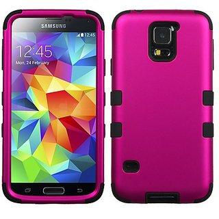 MyBat Samsung Galaxy S5 TUFF Hybrid Phone Protector Cover - Retail Packaging - Titanium Solid Hot Pink/Black