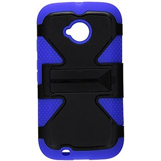 HR Wireless Moto E LTE 2015 2nd Generation Dynamic Cover with Kickstand - Retail Packaging - Black/Blue
