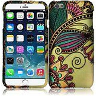 HR Wireless Rubberized Design Cover for Apple iPhone 6 Plus - Retail Packaging - Antique Flower