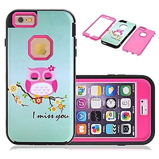 6s Plus Case,iphone 6 Plus Case,Lantier Owl Miss You Hybrid 3 in 1 Impact Resistant Bumpers Full Body Protective TPU & P
