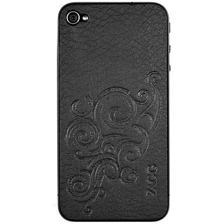ZAGGLEATHERskin for iPhone 4 Black Floral - 1 Pack - Screen Protector - Retail Packaging - Clear