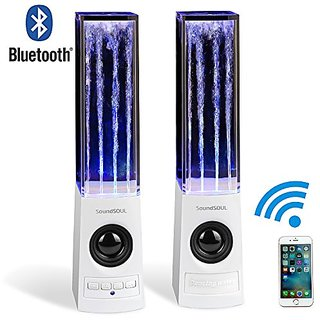 Soundsoul Wireless Bluetooth Music Dancing Fountian Speakers (White)