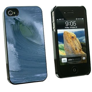 Graphics and More Ocean Wave - Surf Surfing Surfer - Snap On Hard Protective Case for Apple iPhone 4 4S - Black - Carryi