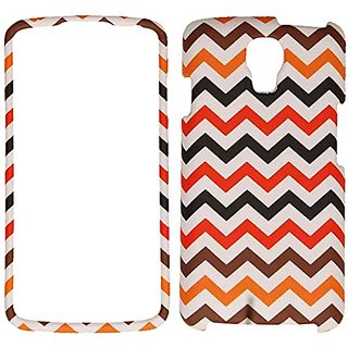 Cell Armor LG Volt/LS740 Snap-On Protective Cover - Retail Packaging - Orange/Brown/Red/Black Chevron on White