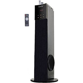 SYKIK TSME24 49W RMS Wireless 2.1 tower speaker with Bluetooth, docking station, Radio, SD & USB, remote with touch scre
