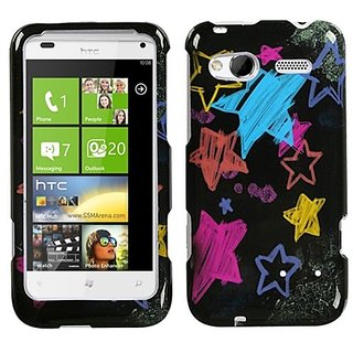 Mybat Protector Cover for HTC Radar 4G - Retail Packaging - Chalkboard Star Black