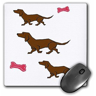 3dRose LLC 8 x 8 x 0.25 Inches Mouse Pad, 3 Cartoon Dachshunds With Red Bones (mp_46552_1)
