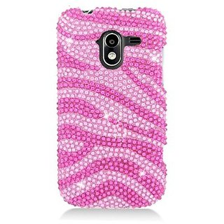 Eagle Cell PDZTEN9120S302 RingBling Brilliant Diamond Case for ZTE Avid 4G N9120 - Retail Packaging - Hot Pink Zebra