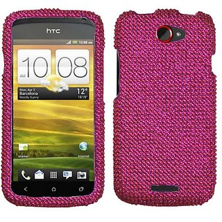 Asmyna HTCONESHPCDMS023NP Dazzling Luxurious Bling Case for HTC One S - 1 Pack - Retail Packaging - Hot Pink