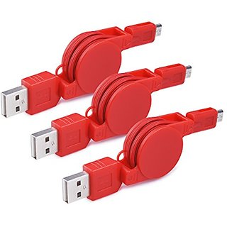 Micro USB Retractable Cable, Ailikn 3pack 2.5ft Lightning USB 2.0 A Male to Micro B Data Charge Cable for Android, Samsu