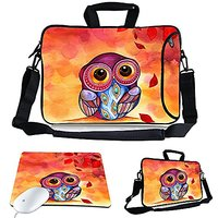 Kitron (TM) 13-Inch Cute Colorful Cartoon Owl Design Waterproof Neoprene Laptop Sleeve Case Bag With Extra Side Pocket,