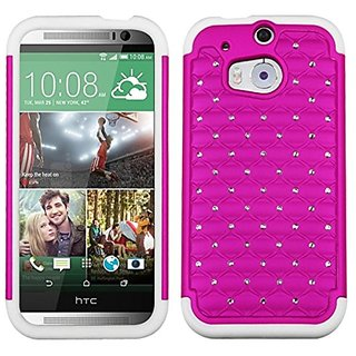 MyBat Asmyna TotalDefense Luxurious Lattice Dazzling Protector Cover for HTC One M8 - Retail Packaging - Hot Pink/Solid
