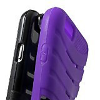 JUJEO iPhone 6 Plus 3-In-1 Rugged PC and Silicone Shell Cover with Kickstand - Non-Retail Packaging - Purple