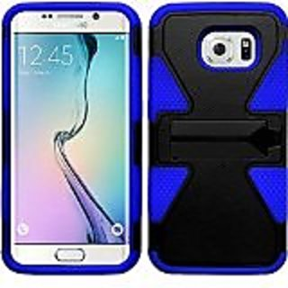 HR Wireless Dyanmic Case with Kickstand for Samsung Galaxy S6 Edge - Retail Packaging - Black/Blue