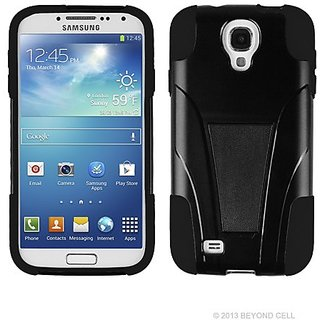Beyond Cell Samsung Galaxy S4 Hybrid Shell Case - Retail Packaging - Black