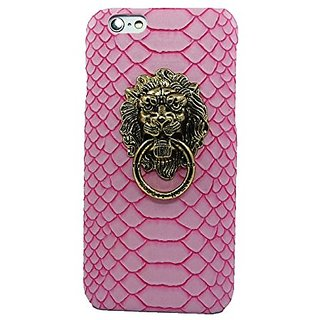 Fashion Case Ultra Slim Snake Texture Hard Shell Case with Lions Head Ring Stand for iPhone 6 (4.7 Inch Screen) (Pink CY