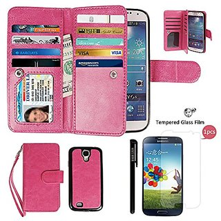 Samsung S4 Case, xhorizon TM FLK Premium Leather Folio Wallet Magnetic Wristlet Soft Flip Multiple Card Slots Case for S