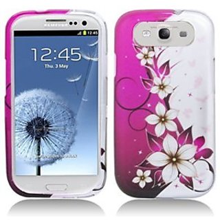 Aimo Wireless SAMI9300PCIMT064 Hard Snap-On Image Case for Samsung Galaxy S3 i9300 - Retail Packaging - Hot Pink/Flowers