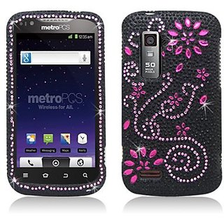 Aimo ZTEN910PCLDI670 Dazzling Diamond Bling Case for ZTE Anthem 4G N910 - Retail Packaging - Pink Flowers
