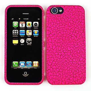 Cell Armor Snap-On Case for iPhone 5 - Retail Packaging - Hot Pink Egg Crack, Leather Finish