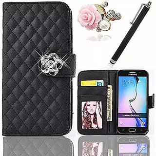Vandot iPhone 6 Plus Case,3in1 Accessory Set Lady Handy Lattice Grid Quilted Sleeve Wallet Case Cover for Smartphone iPh