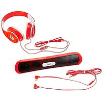 Coby CMB-101-RED Over The Ear Headphones With Built-In Microphone And Bluetooth Speaker (Red)