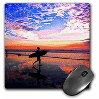 3dRose LLC 8 X 8 X 0.25 Inches Mouse Pad, Surfing On The Beach At Sunset Going Out For That Last Wave (mp_167237_1)
