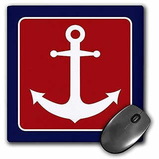 3dRose LLC 8 x 8 x 0.25 Inches Mouse Pad, Red White and Blue Nautical Anchor Design (mp_165796_1)