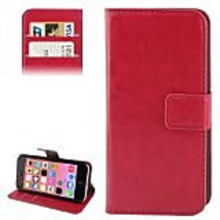 JUJEO Crazy Horse Texture Leather Case with Credit Card Slots & Holder for iPhone 5C (Magenta) - Carrying Case - Non-Ret