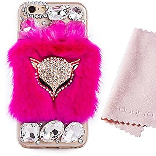 Doopro 2016 New Design Super Luxury Shining Soft Red Fur Ball Fashion Unique Transparent TPU Handmade Case Cover for iPh