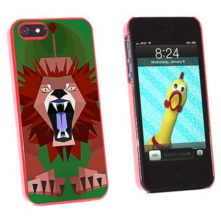 Graphics and More Geometric Lion Green - Snap-On Hard Protective Case for Apple iPhone 5/5s - Non-Retail Packaging - Red