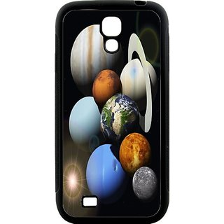 Rikki Knight Solar System Planets Samsung Galaxy S4 Case Cover (Black Hard Rubber TPU with Bumper Protection)