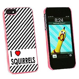 Graphics and More I Love Heart Squirrels Snap-On Hard Protective Case for iPhone 5/5s - Non-Retail Packaging - Pink