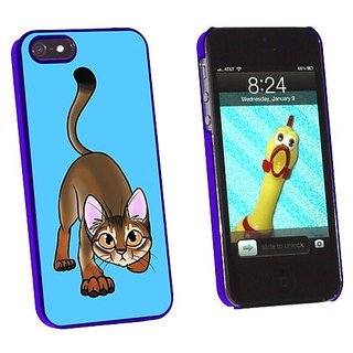 Graphics and More Abyssinian Cat On Blue - Pet - Snap-On Hard Protective Case for Apple iPhone 5/5s - Non-Retail Packagi