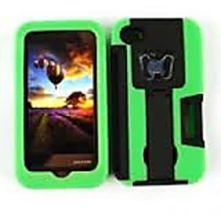 Cell Armor Hybrid Novelty Case for iPhone 4/4S - Retail Packaging - Green/Black Bottle Opener with Stand