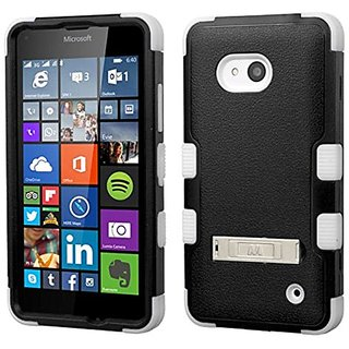 MyBat Cell Phone Case for Microsoft Lumia 640 (T-Mobile/MetroPCS) - Retail Packaging - Black/White