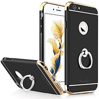 iPhone 6 Plus Case, iPhone 6S Plus Case, COOLQO® Ultra-thin 3in1 Plastic Hard Skin 360 Degree Rotating Ring Kickstan
