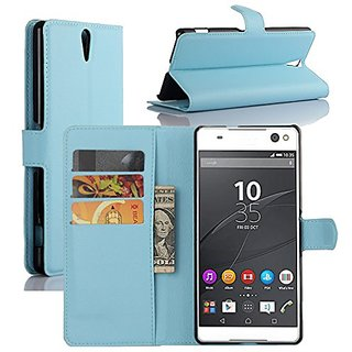 Premium Leather Wallet Case Cover with Stand Card Holder for Sony Xperia C5 Ultra Phone (2015) (Wallet - Sky Blue)