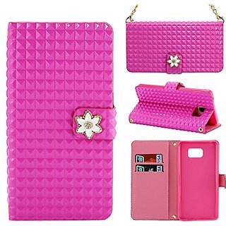 Note 5 Case,CASY MALL Purse Design Synthetic Leather Wallet Case with Wrist Strap for Galaxy Note 5 Rose Pink