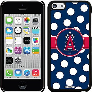 Coveroo LA Angels of Anaheim Polka Dots Design Phone Case for iPhone 5c - Retail Packaging - Black