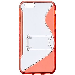 JUJEO S Shape PC and TPU Hybrid Shell with Kickstand for iPhone 6 4.7-Inch - Non-Retail Packaging - Red