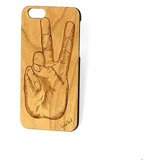 Custom Engraved Peace Hand Sign Wood Case For iPhone 5/5s, iPhone 6/6s and iPhone 6 Plus / 6s Plus (iPhone 5/5s)