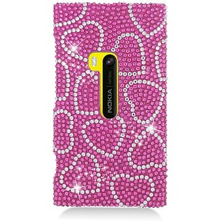 Eagle Cell PDNK920F308 RingBling Brilliant Diamond Case for Nokia Lumia 920 - Retail Packaging - Hot Pink Heart