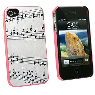 Graphics and More Music Musical Notes - Score Composition - Snap On Hard Protective Case for Apple iPhone 4 4S - Pink