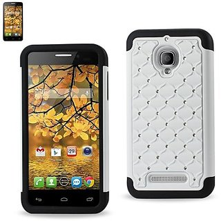 Reiko Diamond Hybrid Protector Cover for Alcatel One Touch Fierce - Retail Packaging - Black White