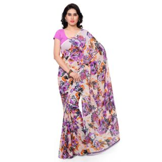 Anand Sarees Faux Georgette Multi Colored Printed Saree With Blouse Piece (11574)