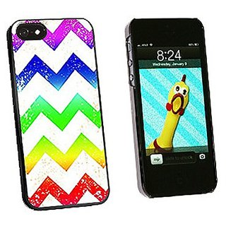 Graphics and More Vintage Chevrons Rainbow Snap-On Hard Protective Case for iPhone 5/5s - Non-Retail Packaging - Black