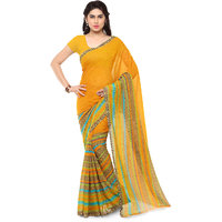 Anand Sarees Yellow Georgette Printed Saree With Blouse