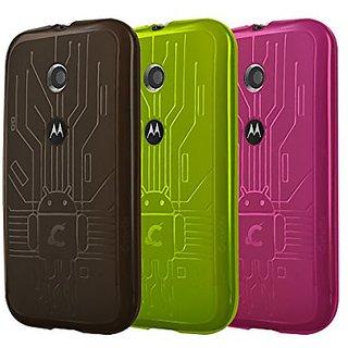 Moto E Case, Cruzerlite Bugdroid Circuit Bundles of 3 TPU Cases Compatible for Motorola Moto E - Smoke/Green/Pink